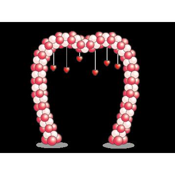 Арка из шаров с в форме сердца двухцветная