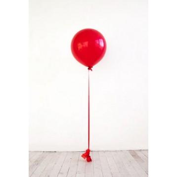 Шар метровый Красный на атласной ленте