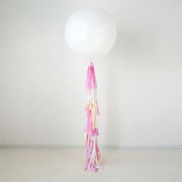 Шар метровый Белый  с густыми кисточками