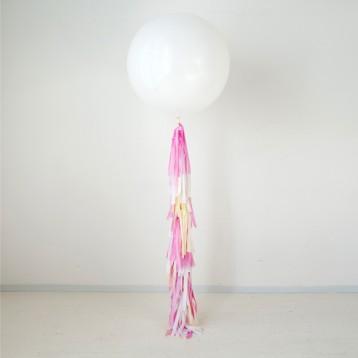 Шар метровый Белый  с кисточками тассел