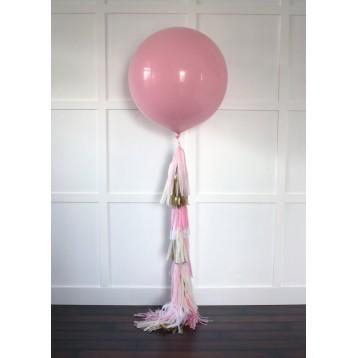 Шар метровый Розовый  с кисточками тассел