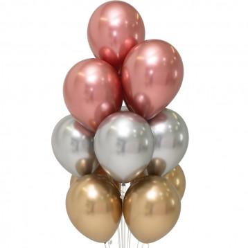 Букет шаров хром (розовое золото, золото, серебро)