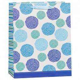 Пакет подарочный, Круги, Голубой, 31*42*16 см.