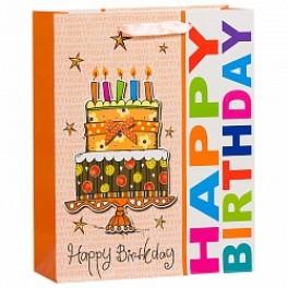 Пакет подарочный, Тортик, Оранжевый, 31*42*16 см.