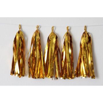 Тассел-гирлянда, Золото блестящее, 35 см.