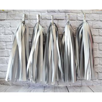 Тассел-гирлянда, Серебро матовое, 35 см.