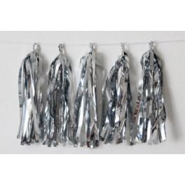 Тассел-гирлянда, Серебро блестящее, 35 см.