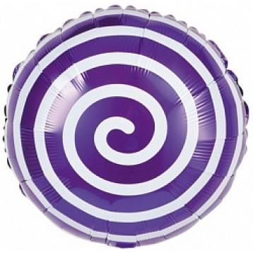 """Шары Круг, Леденец Спираль, Фиолетовый, 18""""/46см"""
