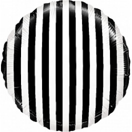 """Шар Круг """"Полоска"""", Черно-белый (18""""/46 см)"""