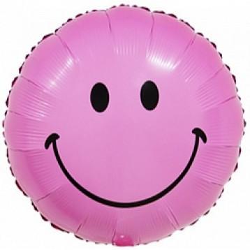 "Шар Круг, Смайл розовый, (18""/46 см)"