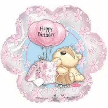 "Шар  цветок ""Happy Birthday"" мишка с шариками"