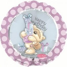 """Шар Круг """"Happy Birthday"""" мишка с подарками, (18""""/46 см)"""