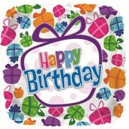 "Шар Квадрат ""Happy Birthday"" Подарки, (18""/46 см)"