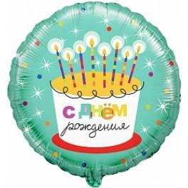 """Шар Круг """"С днем рождения"""" торт со свечками, (18""""/46 см)"""