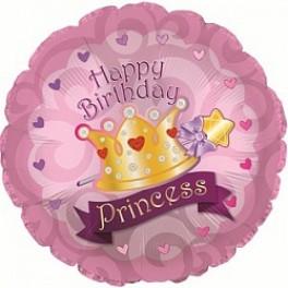 """Шар Круг , """"Happy Birthday Princess"""", (18/46 см)"""