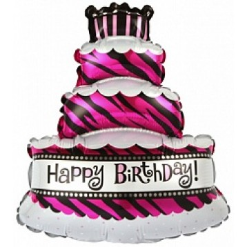 """Шар Торт  со свечками трехслойный, Розовый в зебру """"Happy Birthday"""", (36""""/91 см)"""