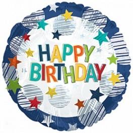 """Шар Круг """"С днем рождения"""", разноцветные звезды (18""""/46 см)"""