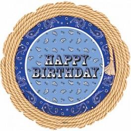 """Шар Круг  """"Happy Birthday"""" канат, (18""""/46 см)"""