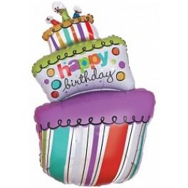 "Шар Торт трехслойный, Яркий в полоску ""Happy Birthday"", (42""/107 см)"