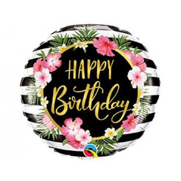 """Шар Круг """"Happy birthday"""", Гибискусы полоска"""