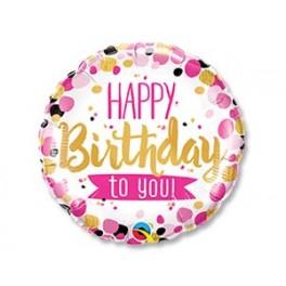 "Шар Круг ""Happy birthday to you"", розовое и золото"