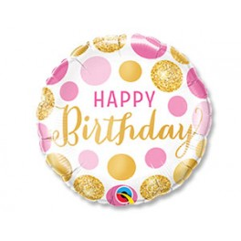 "Шар Круг ""Happy birthday"", розовые и золотые круги"