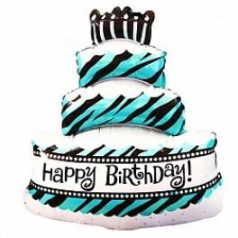 """Шар Торт  со свечками трехслойный, Бирюзовый в зебру """"Happy Birthday"""", (36""""/91 см)"""