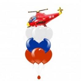 """Букет шаров """"Красный вертолет Триколор"""""""