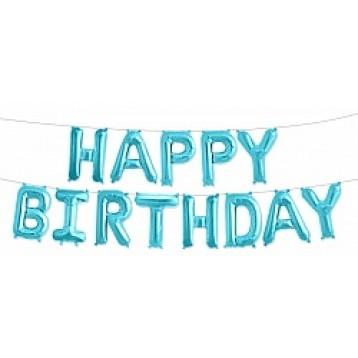 "Шары буквы, Надпись ""Happy Birthday"", Голубой"