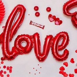 "Шары буквы, Надпись ""LOVE"", Красный (104 см)"