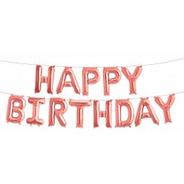 "Шары буквы, Надпись ""Happy Birthday"", Розовое золото"