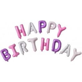 "Шары буквы, Надпись ""Happy Birthday"", Розовый/Сиреневый"