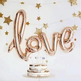 """Шары буквы, Надпись """"LOVE"""", Розовое золото (104 см)"""