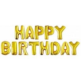 "Шары буквы, Надпись ""Happy Birthday"", Золото"