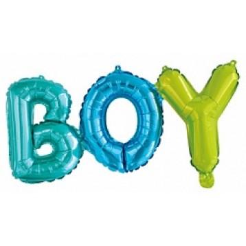 "Шары буквы, Надпись ""Boy"", Разноцветная"