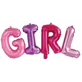 """Шары буквы, Надпись """"Girl"""", Разноцветная"""