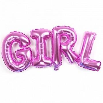 """Шары буквы, Надпись """"Girl"""", Розовая"""