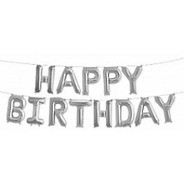 """Шары буквы, Надпись """"Happy Birthday"""", Серебро"""