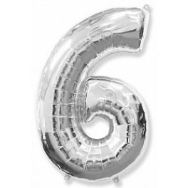 """Цифра 6 (Шестерка), Серебро, (40""""/102см)"""