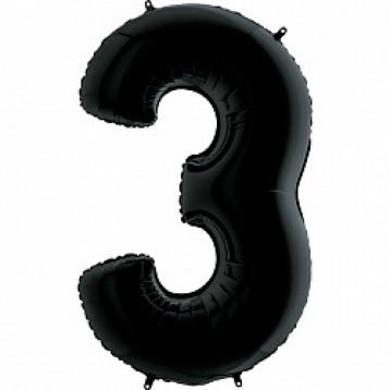 """Цифра 3 (Тройка), Черный (40""""/102см)"""