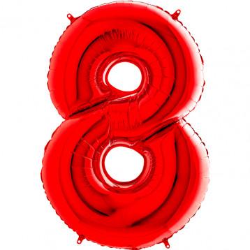 """Цифра 8 (Восемь), Красная, (40""""/102см)"""