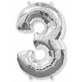 """Цифра 3 (Тройка), Серебро (40""""/102см)"""