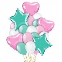 """Облаков шаров """"Мятный коктейль"""" с фольгированными шарами, 18 шт."""