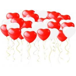 Шары Сердечки Красные и Белые, 50 шт