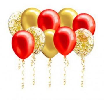 Шары под потолок красные и золотые с конфетти, 30 шт.