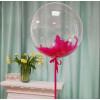 Шар Bubbles с перьями и надписью, 51 см, Прозрачный