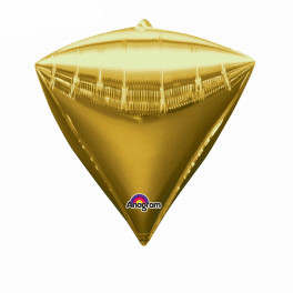 """Шар Алмаз 3D, Золото, (17""""/44 см)"""
