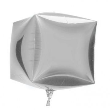 "Шар Куб 3D, Серебро, (15""/38 см)"