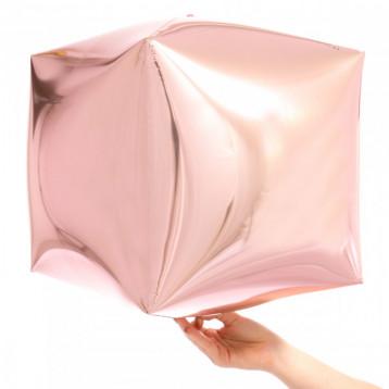 """Шар Куб 3D, Розовое золото, (15""""/38 см)"""