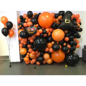 Стена из шаров  Happy Halloween